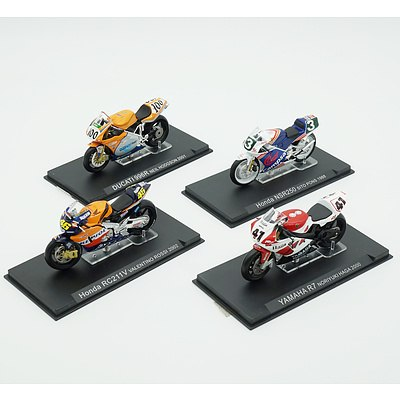 Four Model Motorcycles, Ducati 996R, Honda RC211V, Yamaha R7 and Honda NSR250