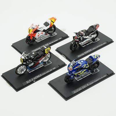 Four Model Motorcycles, Yamaha YZR500, Honda NSR500, Suzuki GSV-R and ELF-2 Honda
