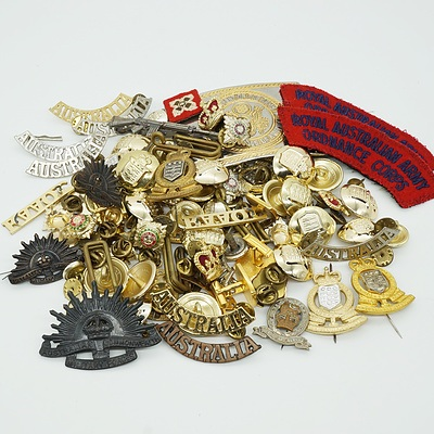 Large Group of Military Badges, Buttons, Patches and More