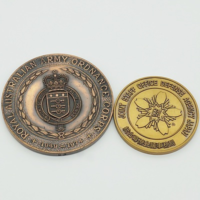 Royal Australian Ordinance Corps 25 Years 1949-1974 Medallion and a Joint Staff Office Defence Agency Japan Medallion