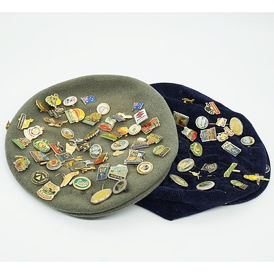 Two Caps with Various Australian Tourist Badges