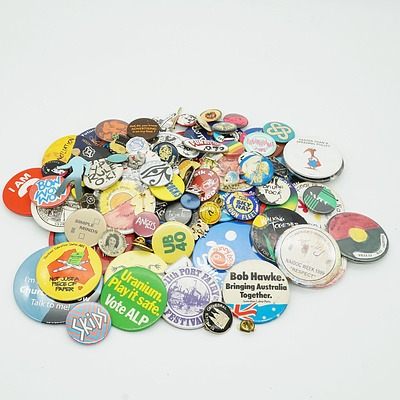 Various Political, Nadoc and Event Badges, Including Bob Hawke Bringing Australia Together and Uranium Play it Safe