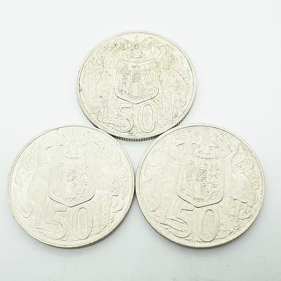Three 1966 Australian Round 50 Cent Coins