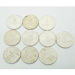 Ten 1966 Australian Round 50 Cent Coins