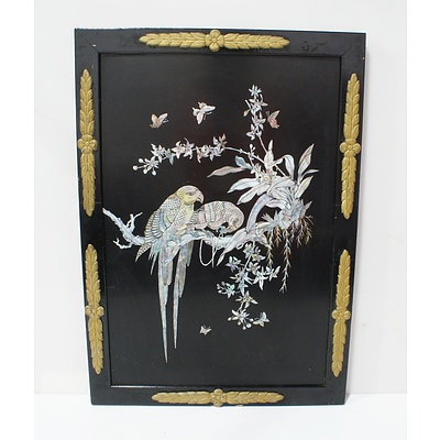 Asian Mother of Pearl Black Lacquer Panel