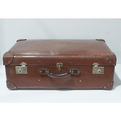Globite Brown Leather Suitcase