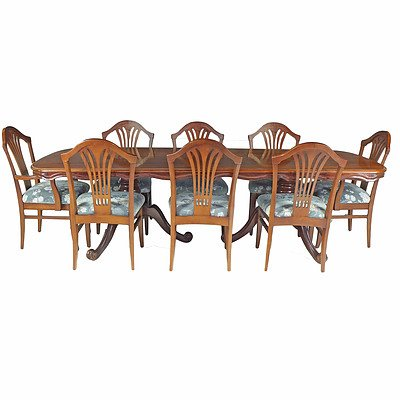 Substantial Cedar Eight Person Dining Suite Circa 1980s