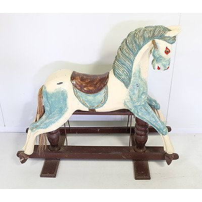 Hand Carved and Painted Childs Rocking Horse Circa 1940s