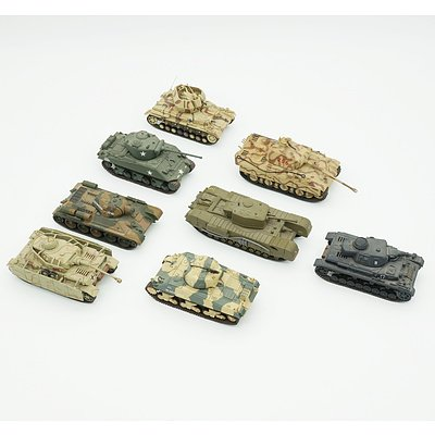 Eight Matchbox and Dinky 1:72 Model Tanks, Including Panther A, Churchill MKVII, Panzer IV, Sherman M4A3