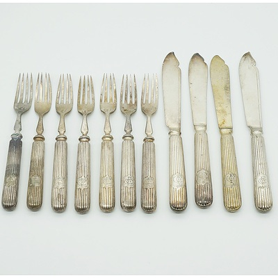 Silver Plated Fish Forks and Knives for Four Monogrammed CFC