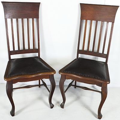 Pair of Arts and Crafts Walnut High Back Chairs Early 20th Century