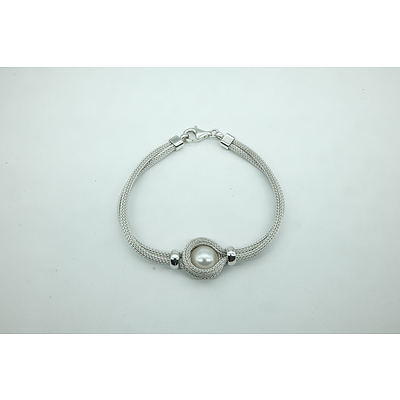 Italian Sterling Silver Bracelet with Imitation Pearl