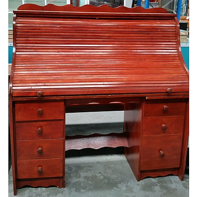 Lacquered Pine Roll Top Desk