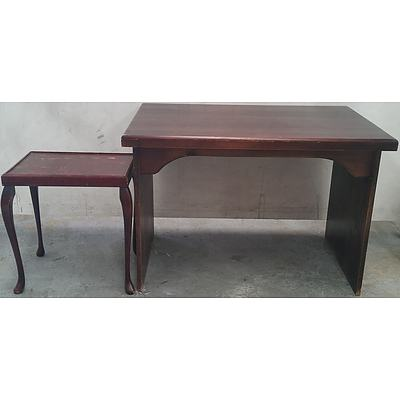 Dark Cherry Veneer Children's Desk and Occasional Table