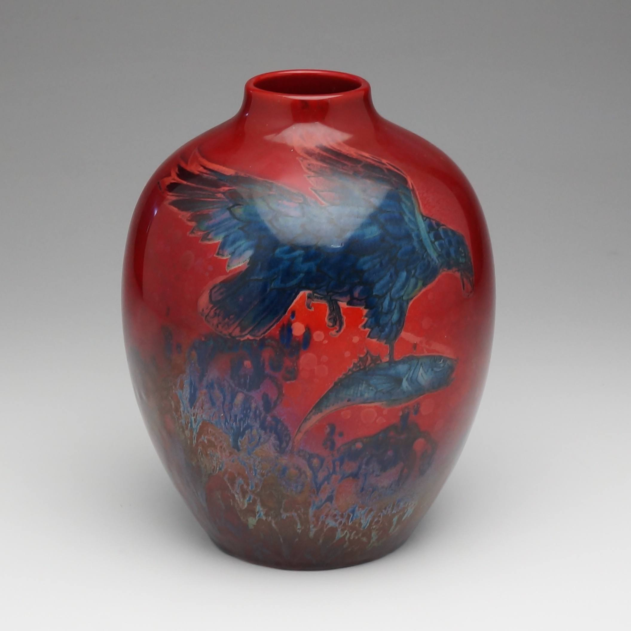 'Royal Doulton Sung Vase Hand Painted with Eagle and Fish by Charles Noke'