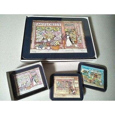 "Set of 6 rectangular placemats and coasters """"Edwardian Shops"""" by Jason"
