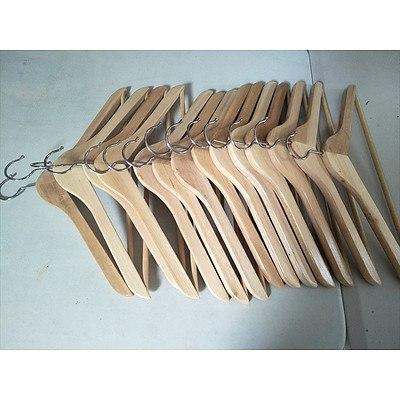 14 wooden coat hangers