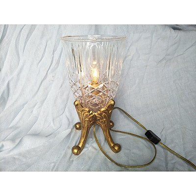 Lamp with Cut Glass Surround on Gilded Base