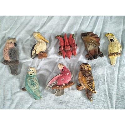 Vintage plaster magnets of Australian animals & plants (Qty: 8)