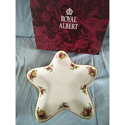 """Royal Albert OCR star condiment server """"Old Country Roses"""" collection with original box"""