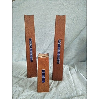 Set of 3 wooden candlestick holders with blue tile inlay (made in Denmark)