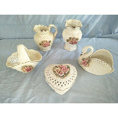 5 piece ceramic dressing table set with lacework design and Rose floral motif