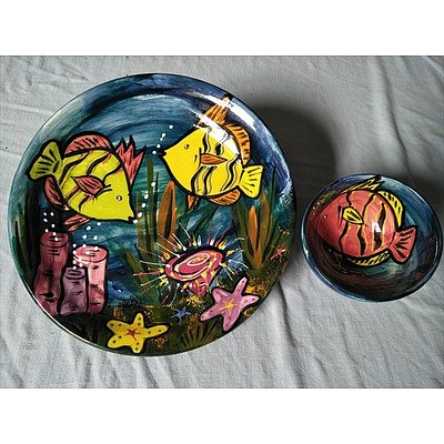 Handpainted ceramic serving plate and bowl with fish design