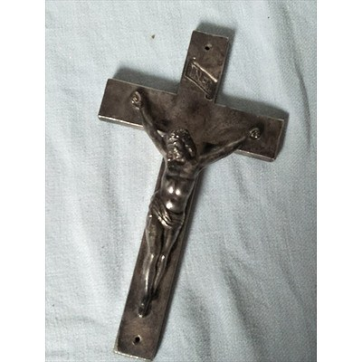 Vintage metal cross with Jesus at Crucifiction, printed with INRI above (Jesus of Nazareth, King of the Jews)