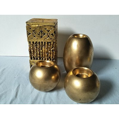4 x gold painted candle holders
