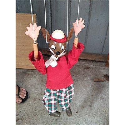 Handmade vintage bouncing animal puppet