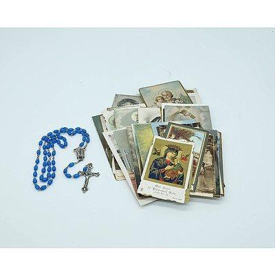 Rosary Beads and 57 Religious Ephemera