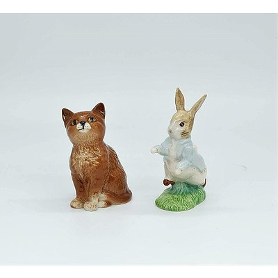 Two Beswick Pottery Figures Including Cat and Peter Rabbit