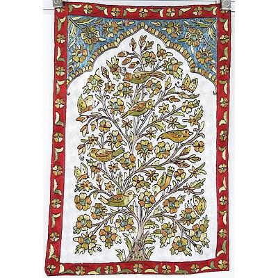Hand Made Kashmiri Crewel Work Silk Rug
