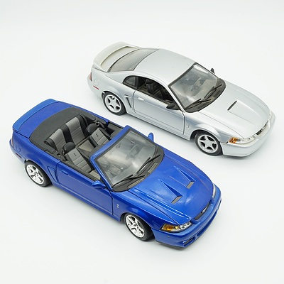 Two Maisto 1:18 Model Cars, Including 1999 Mustang GT and 2003 Mustang SVT Cobra