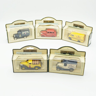 Five Boxed Models of Yesteryear, Including Pennzoil 1938 Chevy Pickup, 1939 Chevrolet Car NYFD and More