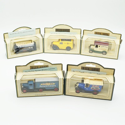 Five Boxed Models of Yesteryear, Including Kiwi Boot Polish 1926 Bull Nose Morris Van, Smiths Crisps 1935 Ford 3 Ton Truck and More