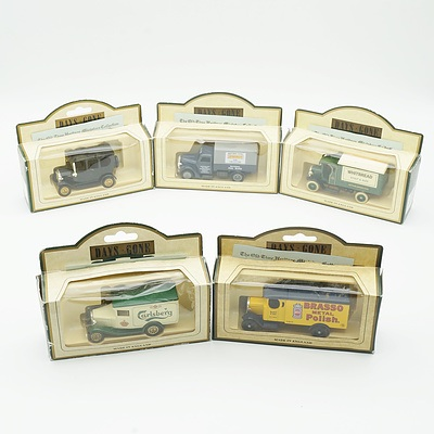 Five Boxed Models of Yesteryear, Including Carlsberg Lager 1930 Model A Ford, Brasso 1931 Morris Van and More