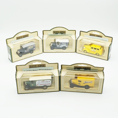 Five Boxed Models of Yesteryear, Including Waterman's 1930 Model A Ford Van, Yellow Cabs 1939 Chevrolet