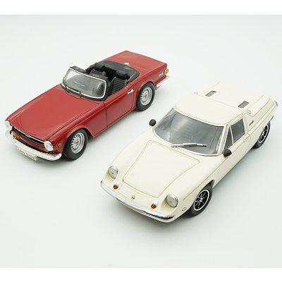 Ertl 1:18 1974 Triumph TR6 and Kyosho 1:18 Lotus Europa