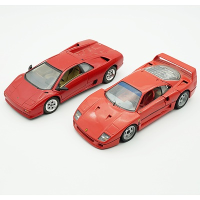 1991 Franklin Mint 1989 Ferrari F40 and a Matchbox 1:24 Lamborghini Diablo