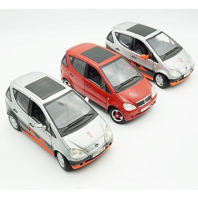Three Maisto 1:18 Mercedes Benz A Class