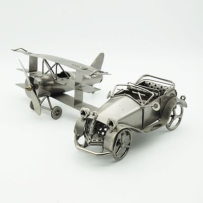 Painted Metal Car and Triplane