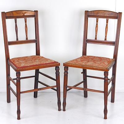 Pair of Edwardian Walnut and Burr Walnut Chairs Early 20th Century