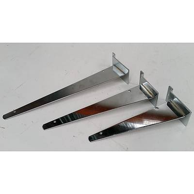 Slat Wall Metal Shelf Arms and Display Hooks - Lot of 300