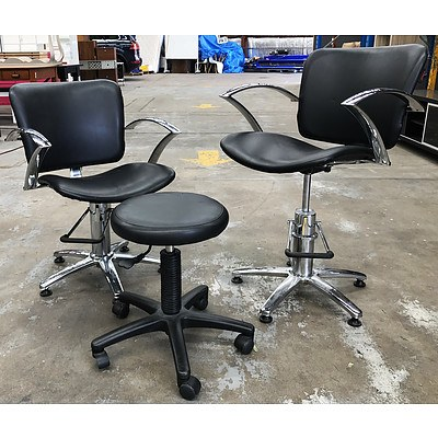 Set of 10 Joiken Black Vinyl Salon Chairs & Mobile Stool