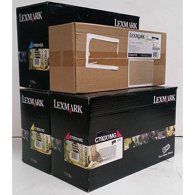 Lexmark Toner Cartridges & Waste Toner Bottle - Lot of Four *Brand New