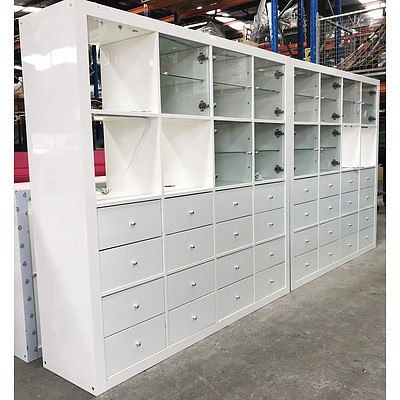 Two White Door & Drawer Chest