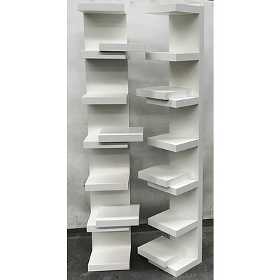 Two White 7 Shelf Display with Six Floating Shelves