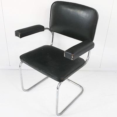 Bendix 1950's Green Leather Upholstered and Chrome Cantilever Armchair