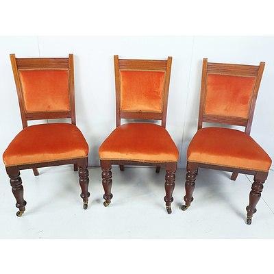 Six Australian Cedar and Orange Velvet Upholstered Dining Chairs Early 20th Century